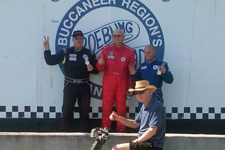 2010 SARRC Invitational Championship race Winner Ken Waters (center) 2nd Place Richard Franklin (left) , 3rd Place Tim Pierce (right) celebrate with Brian Little our Master Technician and Mentor.
